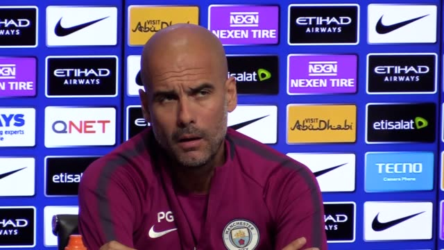 Manchester City manager Pep Guardiola gives a press conference ahead of the team's Premier League match against Leicester