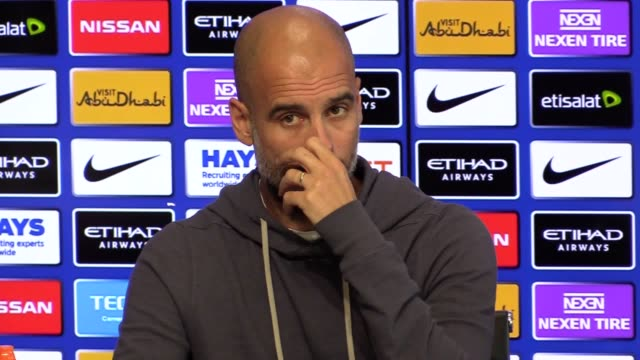 Manchester City manager Pep Guardiola gives a press conference ahead of the team's Premier League game against Huddersfield