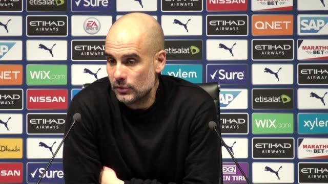 manchester city manager pep guardiola gives his first press conference since city were hit with a two-season european football ban by uefa for... - forbidden stock videos & royalty-free footage