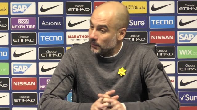 Manchester City manager Pep Guardiola press conference after his club beats Watford 31