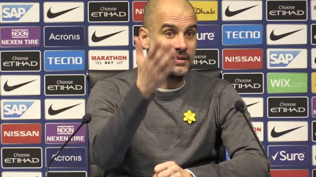 Manchester City manager Pep Guardiola press conference after his club beats Watford 31 in the Premier League on Saturday March 9