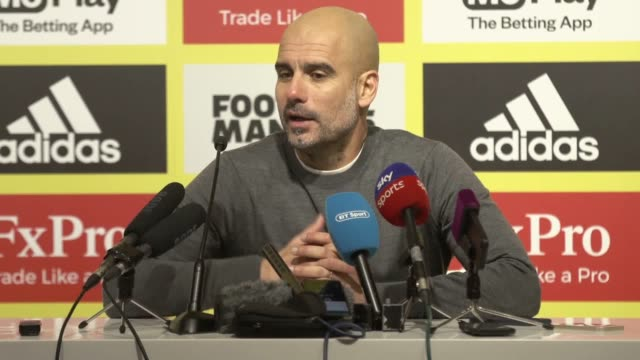 Manchester City manager Pep Guardiola reacts to his side's 21 win over Watford at Vicarage Road The win puts City five points clear at the top of the...