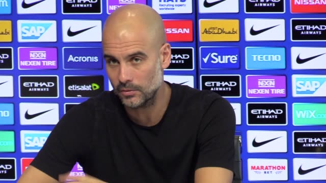 manchester city manager pep guardiola speaks ahead of the carabao cup semifinal first leg against burton on wednesday - semifinal round stock videos & royalty-free footage
