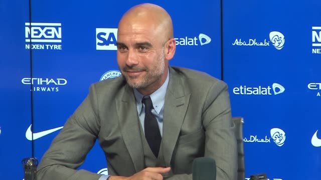 pep guardiola gives first press conference as manager pep guardiola press conference sot on joe hart and raheem sterling they were criticised but... - dortmund city stock videos and b-roll footage