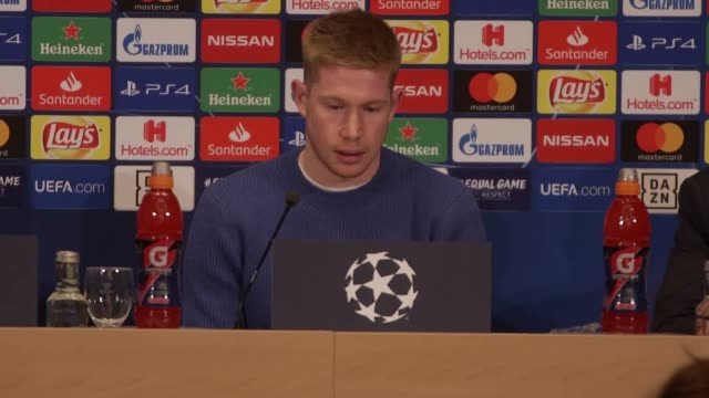 manchester city player kevin de bruyne previews his side's champions league last 16 firstleg against schalke city exited the competition at the... - first leg stock videos and b-roll footage