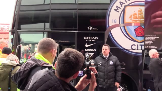manchester city players arrive ahead of their fa cup quarter final clash with middlesbrough - middlesbrough stock videos and b-roll footage