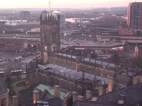 manchester city skyline & cathedral - manchester stock videos and b-roll footage