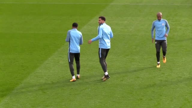 Manchester City train ahead of their Champions League match against Napoli Players include Raheem Sterling Kyle Walker Sergio Aguero John Stones Yaya...