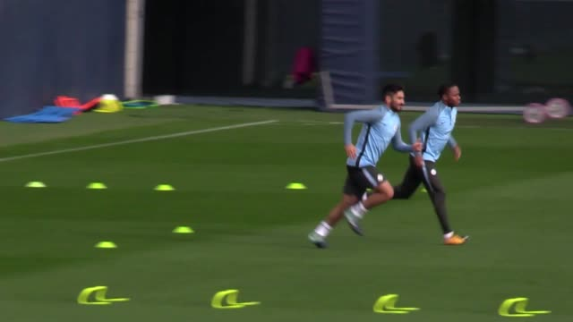 Manchester City training ahead of their Champions League Group F game against Shaktar Donetsk Players include Eliaquim Mangala Yaya Toure Bernardo...