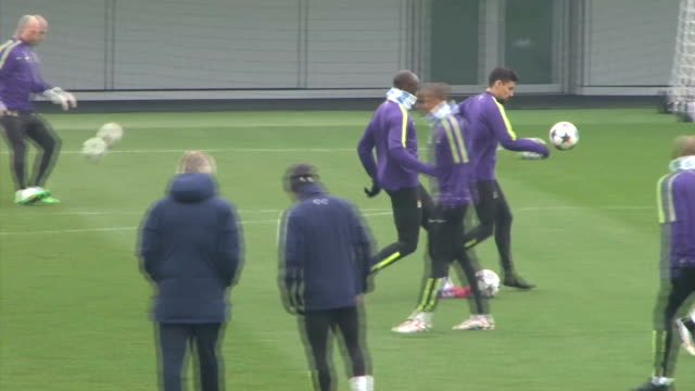 Manchester City training session ENGLAND Manchester EXT Various of Manchester City players at football training session watched by Manchester City...