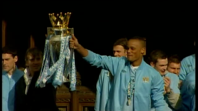 manchester city victory parade following premier league win; england: manchester: ext manchester city captain vincent kompany and manager roberto... - trophy stock videos & royalty-free footage