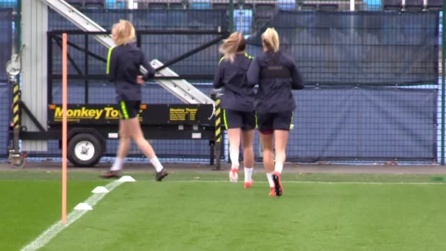 manchester city women train ahead of the fa cup final against west ham the women's fa cup final between man city and west ham is on may 4 - women's football stock videos & royalty-free footage
