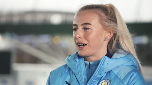 """manchester city's chloe kelly saying it is """"a great feeling"""" having helped both everton and man city reach the women's fa cup final, but she """"has a... - joy stock videos & royalty-free footage"""