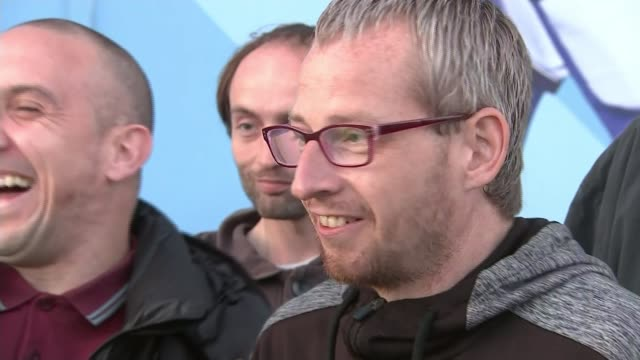manchester city's vincent kompany donates testimonial match money to homeless england manchester city of manchester stadium ext bernard setup shots... - celebratory event stock videos & royalty-free footage