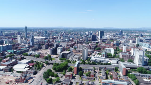 manchester cityscape 4k aerial video moving towards - 4k resolution stock videos & royalty-free footage