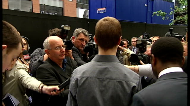 manchester crown court: ext ross mcknight and matthew swift outside court with press around ross mcknight speaking to press sot - at no time was any... - general certificate of secondary education stock videos & royalty-free footage