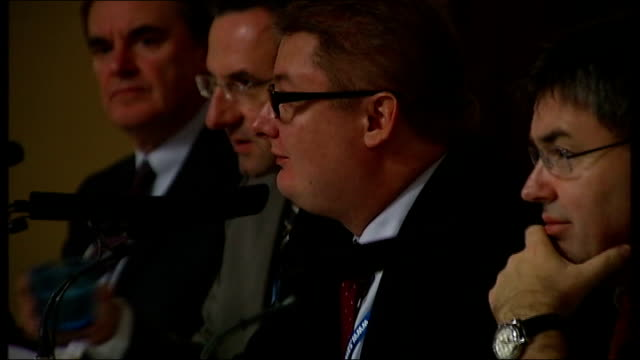 manchester: group of conservative meps including timothy kirkhope mep, sitting at fringe meeting with michal kaminski mep of the polish law and... - gerechtigkeit stock-videos und b-roll-filmmaterial