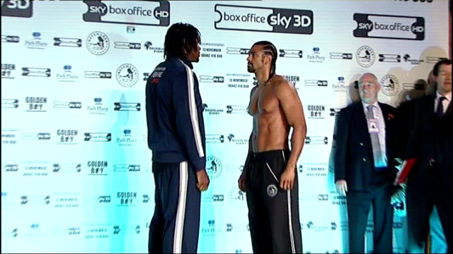 manchester photography** david haye and audley harrison face eachother at weighin david haye wearing 'no you can't' tshirt at weighin audley harrison... - david haye stock videos and b-roll footage