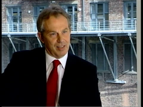 vídeos de stock, filmes e b-roll de manchester int tony blair mp interviewed by jon snow sot is the widow of anthony wakefield right to blame blair for his death i've expressed my deep... - widow