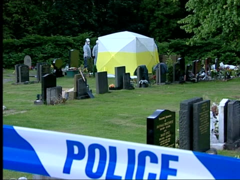manchester police exhume man's body after suspicions about his death england lancashire rochdale ext long shot of forensic tent over grave where... - rochdale england stock videos & royalty-free footage