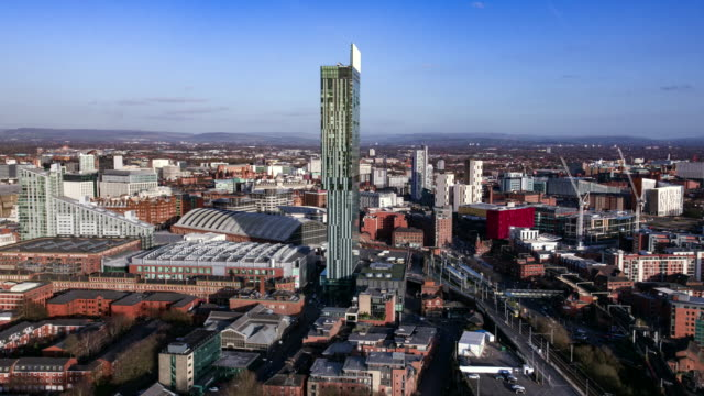 manchester skyline drone footage deansgate - drone point of view stock videos & royalty-free footage
