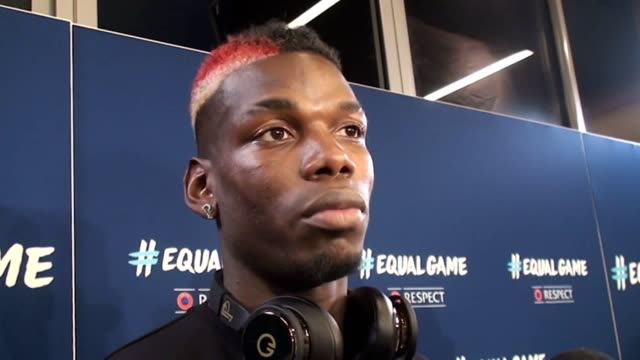vídeos y material grabado en eventos de stock de manchester united and france midfielder paul pogba at the launch of uefa's new respect campaign #equalgame - unión europea de las asociaciones nacionales