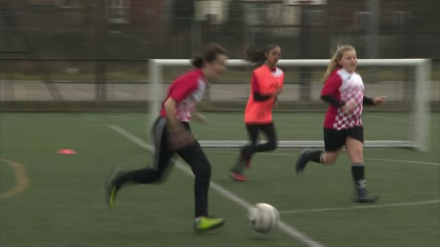 manchester united apply to have professional women's team; england: greater manchester: great academy ashton: ext various shots of girls playing... - girls stock videos & royalty-free footage