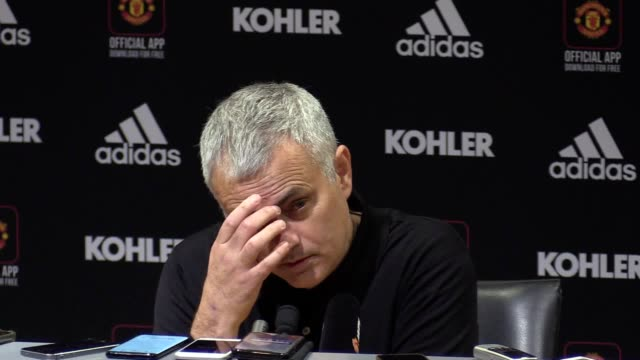 manchester united manager jose mourinho gives post match press conference after his side's 41 win over fulham manchester united are now up to sixth... - press conference stock videos & royalty-free footage