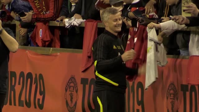 Manchester United players meet fans at the WACA Ground in Perth after training on their Australian tour Footage includes shots of manager Ole Gunnar...
