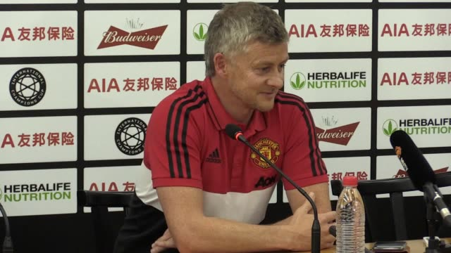 manchester united press conference with ole gunnar solskjaer and scott mctominay ahead of thursday's friendly against tottenham in shanghai china... - thursday stock videos and b-roll footage