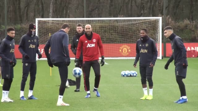 Manchester United train ahead of their Champions League clash with Valencia