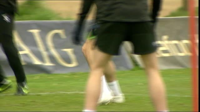 manchester united training at training ground; more generic training shots - torschuss stock-videos und b-roll-filmmaterial