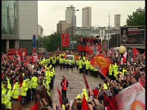 manchester utd parade through streets of manchester in an open top bus to celebrate their 19th premiership title win - parade stock videos & royalty-free footage