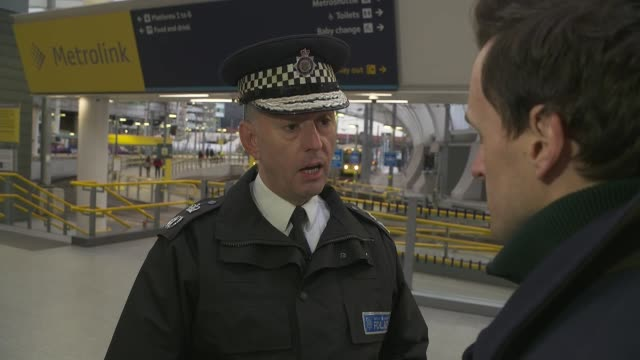manchester victoria station stabbing: police sergeant injured in attack issues statement; england: manchester: victoria station: int paul crowther... - sergeant stock videos & royalty-free footage