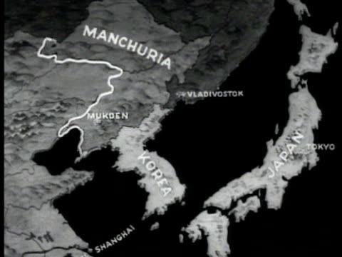 map manchuria korea amp japan animated outline of manchukuo - mandschurei stock-videos und b-roll-filmmaterial