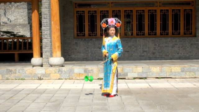 manchurian girl juggling diabolo - manchuria region stock videos & royalty-free footage