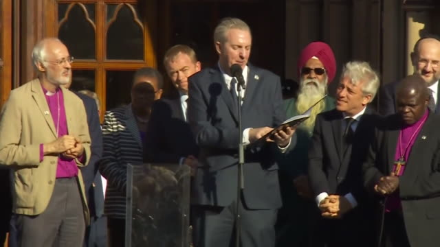 mancunian poet tony walsh delivering a powerful recital of his poem 'this is the place' at a vigil for the victims of the manchester arena bombing... - poetry stock videos & royalty-free footage