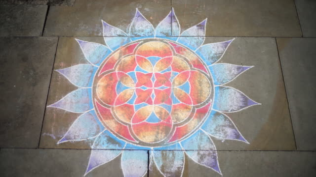 mandala chalk art, on the pavement. - mandala stock videos & royalty-free footage