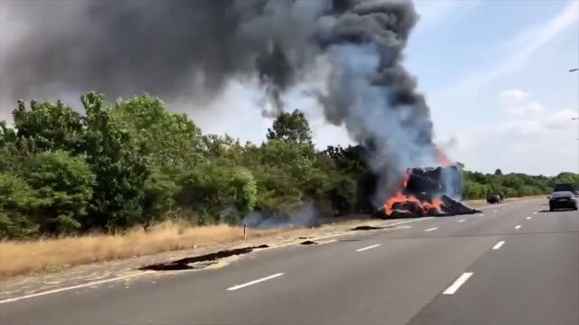 kate mundy | @katemundy23 a lorry carrying bales of hay caught fire on the southbound m5 just across the gloucestershire border causing huge delays... - worcestershire stock videos and b-roll footage
