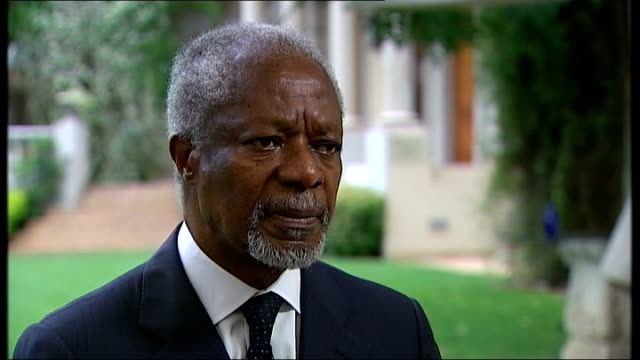 mandela message of forgiveness can aid people caught up in unrest south africa johannesburg ext kofi annan interview sot tragic what is going on in... - forgiveness stock videos & royalty-free footage