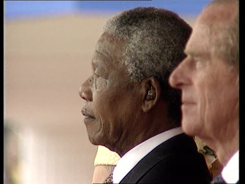 england london the mall tms queen elizabeth ii and s african pres nelson mandela along in coach pan lr mandela prince phillip standing as south... - state visit stock videos & royalty-free footage