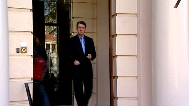 mandelson custard attack by plane stupid campaigner; lord mandelson emerging from building to speak to press - custard stock videos & royalty-free footage
