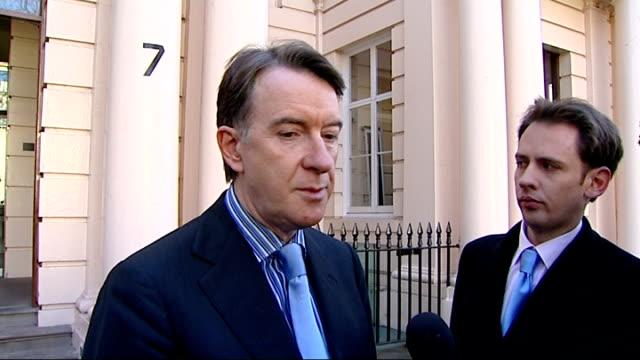 mandelson custard attack by plane stupid campaigner: mandelson statement; england: london: ext lord peter mandelson speaking to press sot - grateful... - カスタードクリーム点の映像素材/bロール