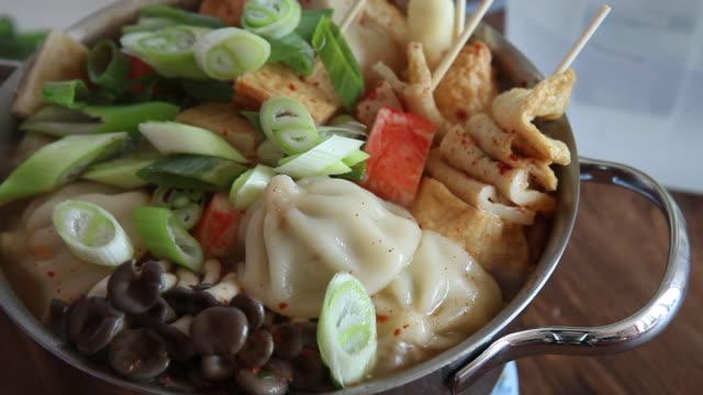 'mandu-jeongol' (dumpling hot pot) simmering - cooking pan stock videos & royalty-free footage