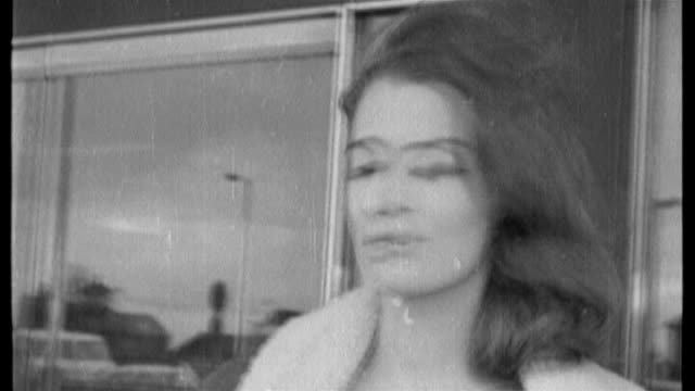 mandy ricedavies dies tx 2931963 b/w christine keeler posing on steps of hotel/ w john profumo out of car and along through crowds of press as... - mandy rice davies stock videos & royalty-free footage