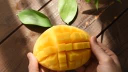 Mango Cut Open Closeup View