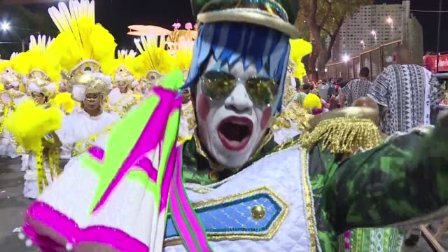 mangueira one of the most traditional and respected samba schools in brazil is declared winner of the 2016 rio carnival parade championship - samba school stock videos and b-roll footage