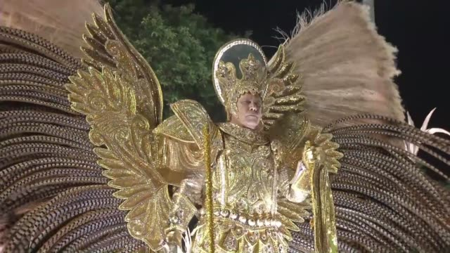 mangueira the elite samba school which won last year's carnival dance competition in rio de janeiro rounds off this year's event with a performance... - samba school stock videos and b-roll footage