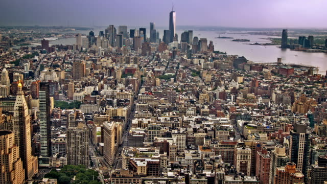 manhattan aerial view, new york - circa 5th century stock videos & royalty-free footage