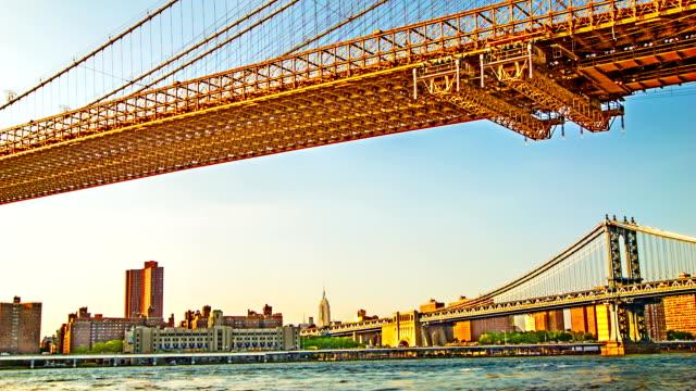 Manhattan and Brooklyn bridges.